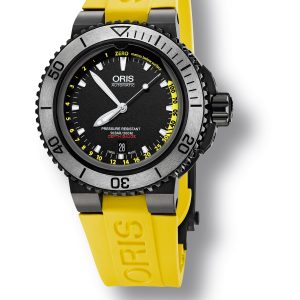 Renowned for producing specialist diving watches, Oris is proud to introduce the Oris Aquis Depth Gauge. At the forefront of mechanical watch innovation, Oris has harnessed its knowledge, expertise and craftsmanship to produce the first divers watch which measures depth by allowing water to enter the timepiece. This patented timepiece is the first of its kind to measure depth using a unique gauge built into the sapphire crystal, which allows water to enter the watch.